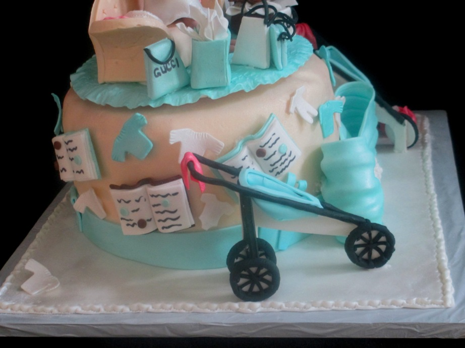 baby shower cake sides with edible books, clothes, jogging stroller, Baby shower invitation