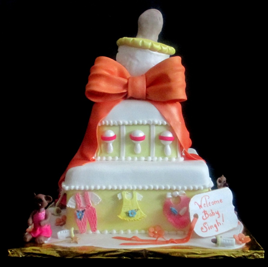 Baby Shower Tiered Cake With Giant Bottle Baby Clothes