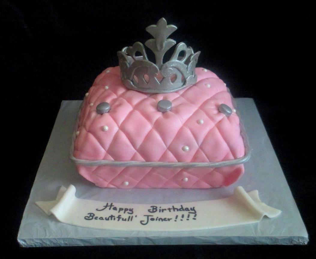 Pink Pillow Princess Crown Fondant Cake Main