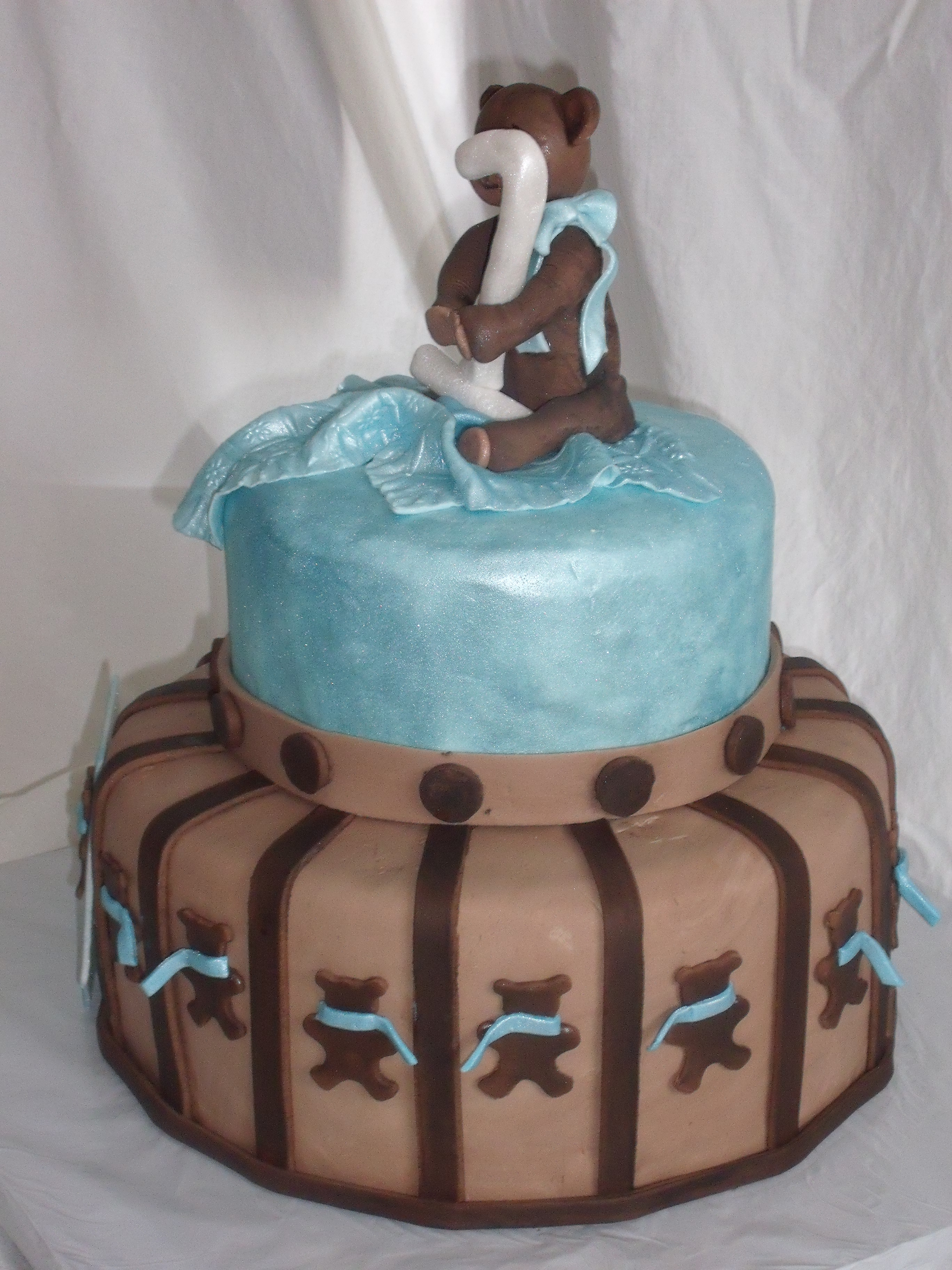 Blue and Brown Teddy Bear Themed Baby Shower Cake designed by Kate