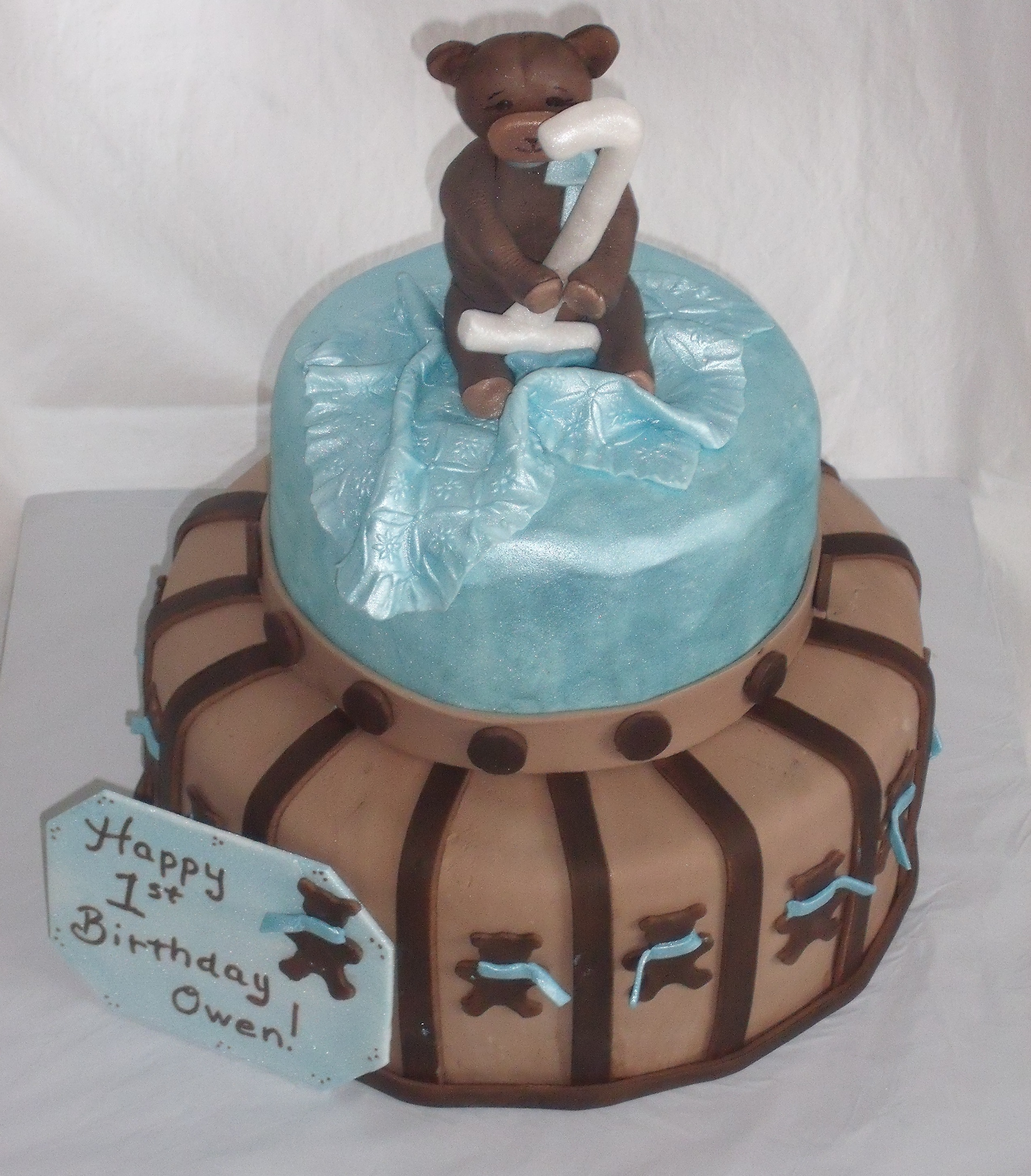 Tblue And Brown Teddy Bear Themed Baby Shower Cake Designed By Kate