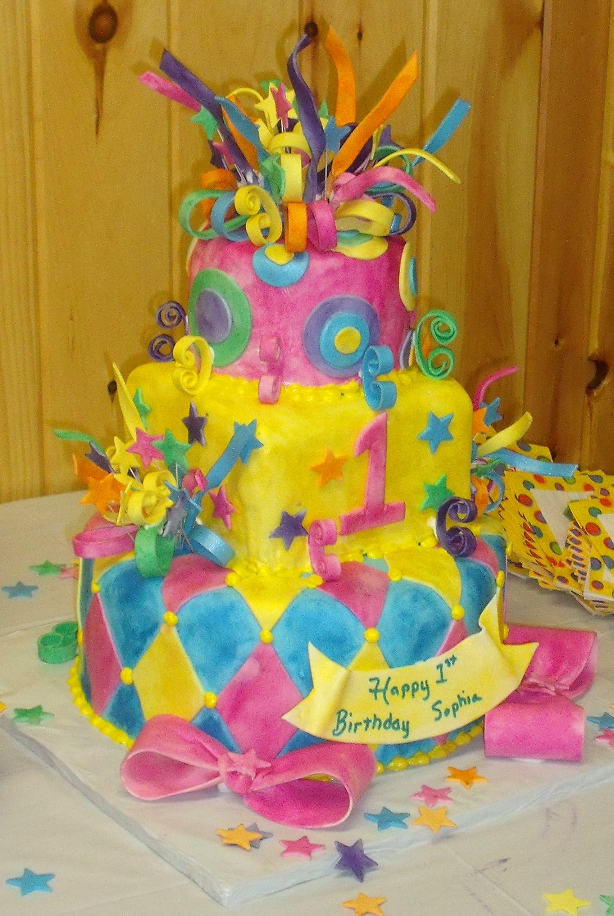 Whimsical Mardi Gras First Birthday Cake View 2