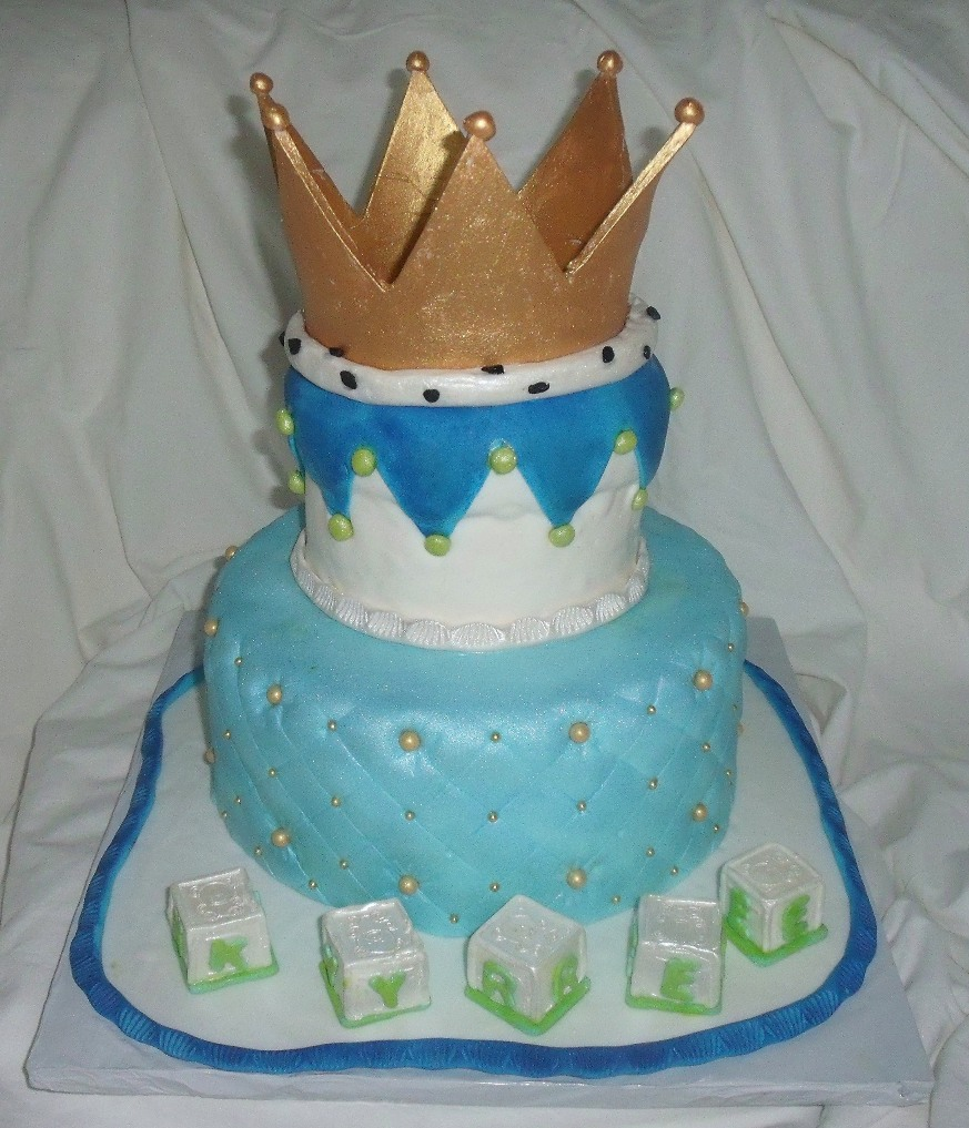 Baby Shower Cake For Boy With Edible Golden Crown Baby Blocks Main View