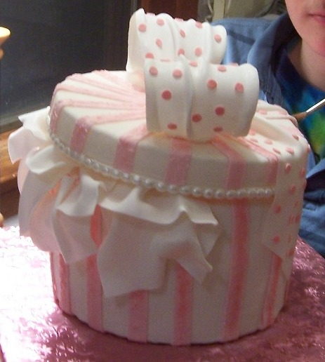 Pink hat box or gift box cake fondant and gumpaste view full size view slideshow negle Images