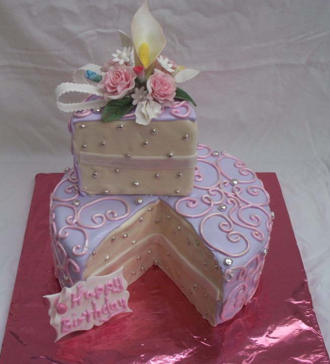 Feminine Birthday Cake With Single Serving Already Cut And Decorated