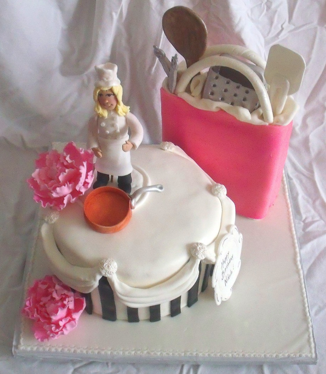 Chef kitchen cooking theme cake view 4 for Chef themed kitchen ideas