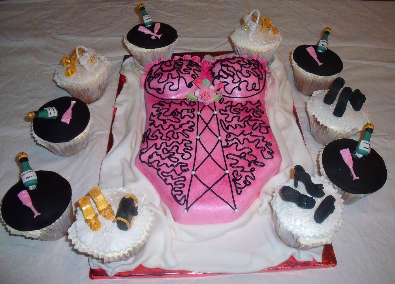 corset or lingerie bridal shower cake with cupcakes view 2 view full size view slideshow