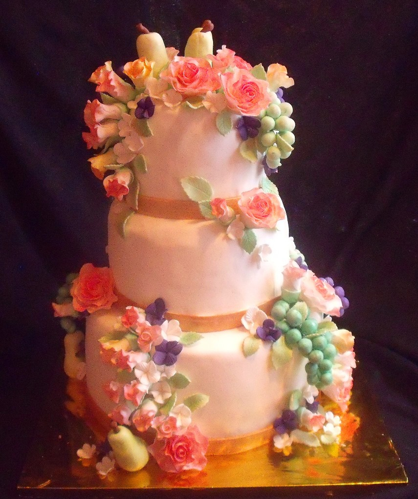 Fruit and flowers still life themed tiered fondant birthday cake fruit and flowers still life themed tiered fondant birthday cake front view view full size view slideshow izmirmasajfo