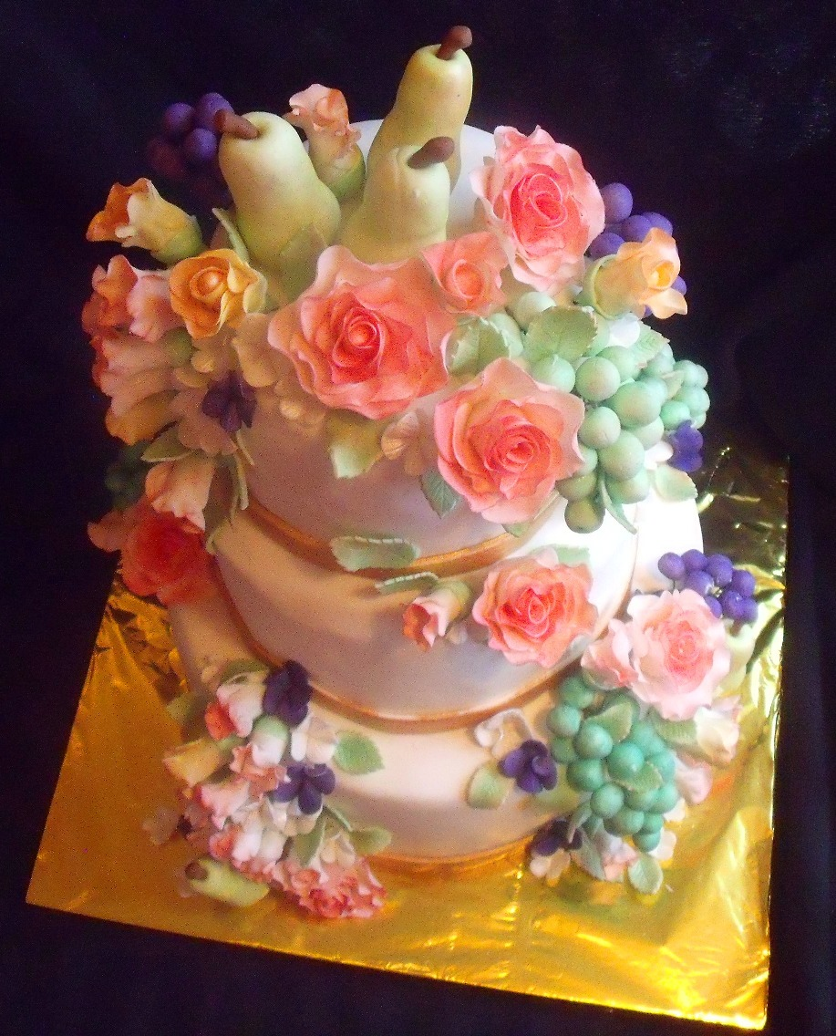 Fruit and flowers still life themed tiered fondant birthday cake fruit and flowers still life themed tiered fondant birthday cake view from top izmirmasajfo