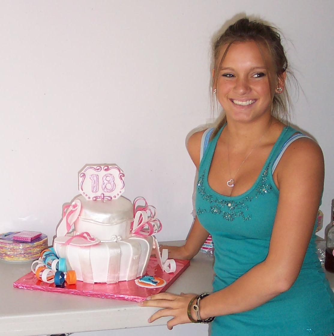 Samantha With Her Miami Dolphin Cheerleader Birthday Cake