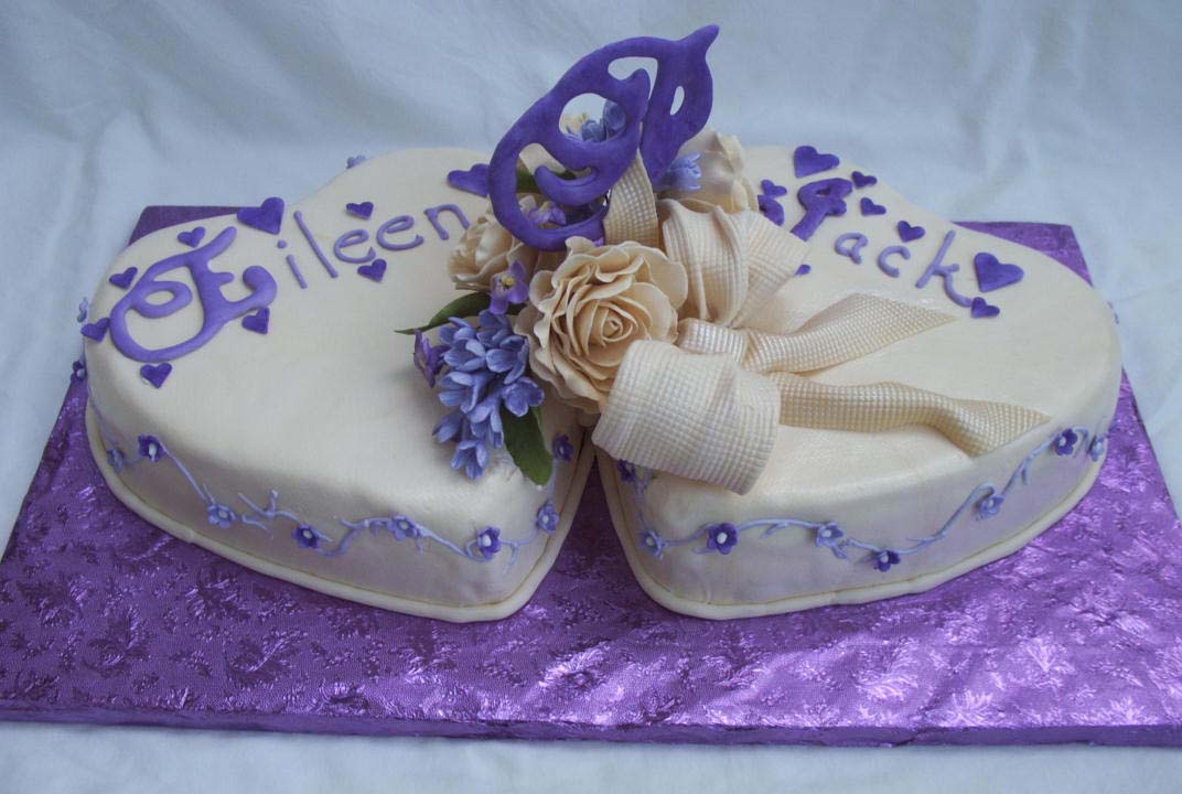 Purple Heart Wedding Cake With Gumpaste Flowers And