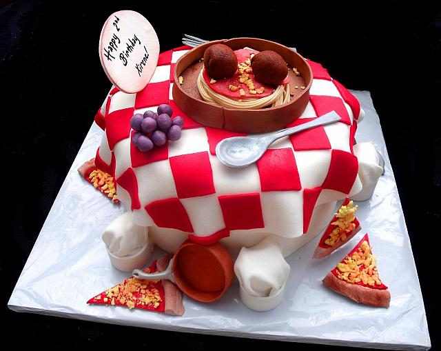 Birthday Cake Designs For A Chef : Pizza and Italian Food Themed Fondant Cake with Edible ...