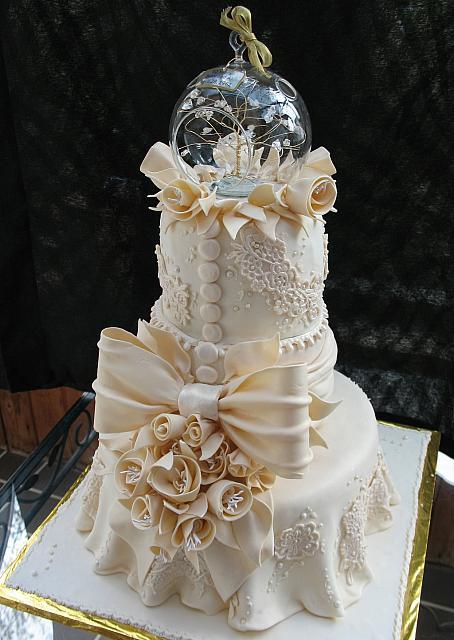 Ivory Lace Anniversary Tiered Fondant Cake Main