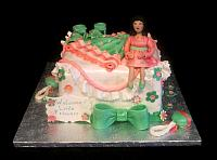 Baby Shower Fondant Cake with Edible Baby Dress, Shoes, Pregnant Figurine Take Two