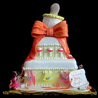 Baby Shower Tiered Cake with Giant Baby Bottle, Bears, Baby Clothes