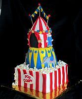 & Circus Theme Fondant Cake with Tent Popcorn Clowns Animals