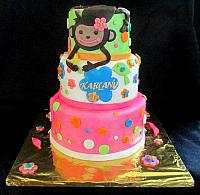Monkey Love with Flowers, Dots for Child Birthday Fondant Cake