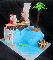 Pirate Theme Birthday Cake with Ship, Map, Animals, Treasure