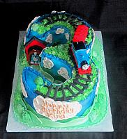 Thomas the Train on Number Three Carved Cake
