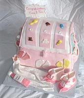 Baby Diaper Bag Cake For Baby Shower With Edible Gumpaste Baby Shoes, Baby Blanket, Baby Decorations